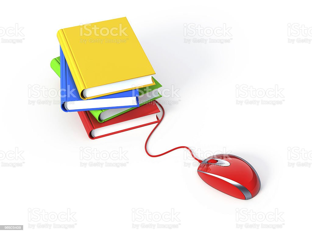 Online learning with mouse and books royalty-free stock photo