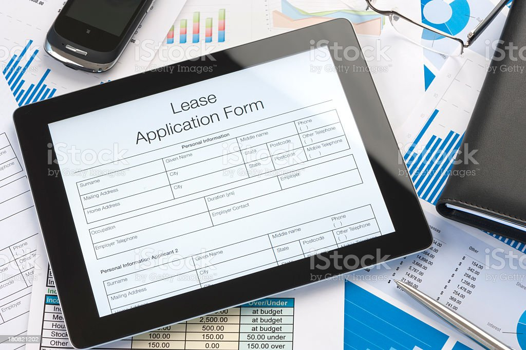 Online Lease Agreement Application Form Stock Photo More Pictures
