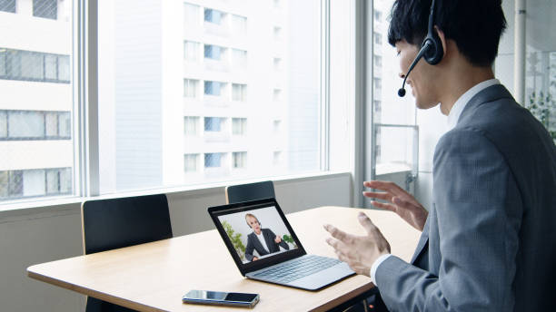 Online lesson concept. Tele meeting. Teleconference. Online lesson concept. Tele meeting. Teleconference. english language stock pictures, royalty-free photos & images