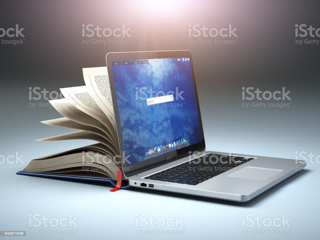 Online library or E-learning concept. Open laptop and book compilation. royalty-free stock photo