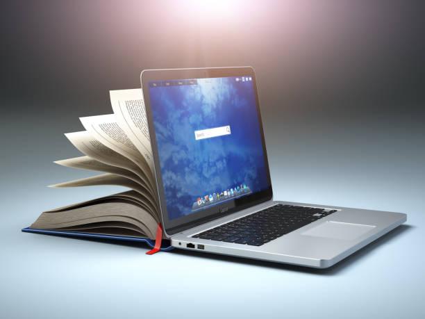 biblioteca en línea o e-learning concepto. compilación del ordenador portátil y el libro abierto. - biblioteca fotografías e imágenes de stock