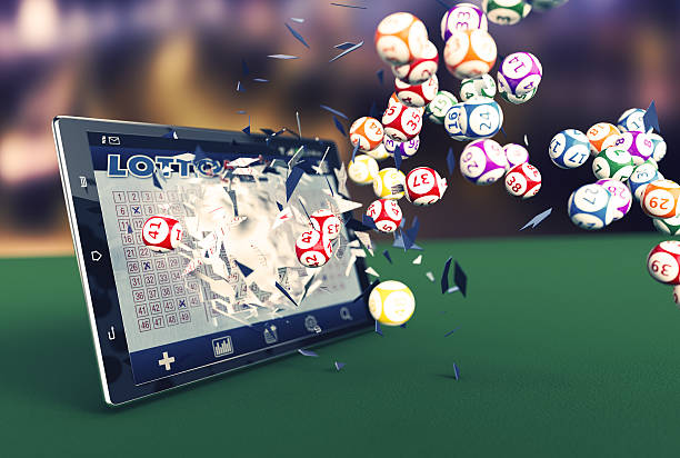 online lottery tablet pc with a lottery app and lottery balls coming out by breaking the glass (3d render) lottery stock pictures, royalty-free photos & images