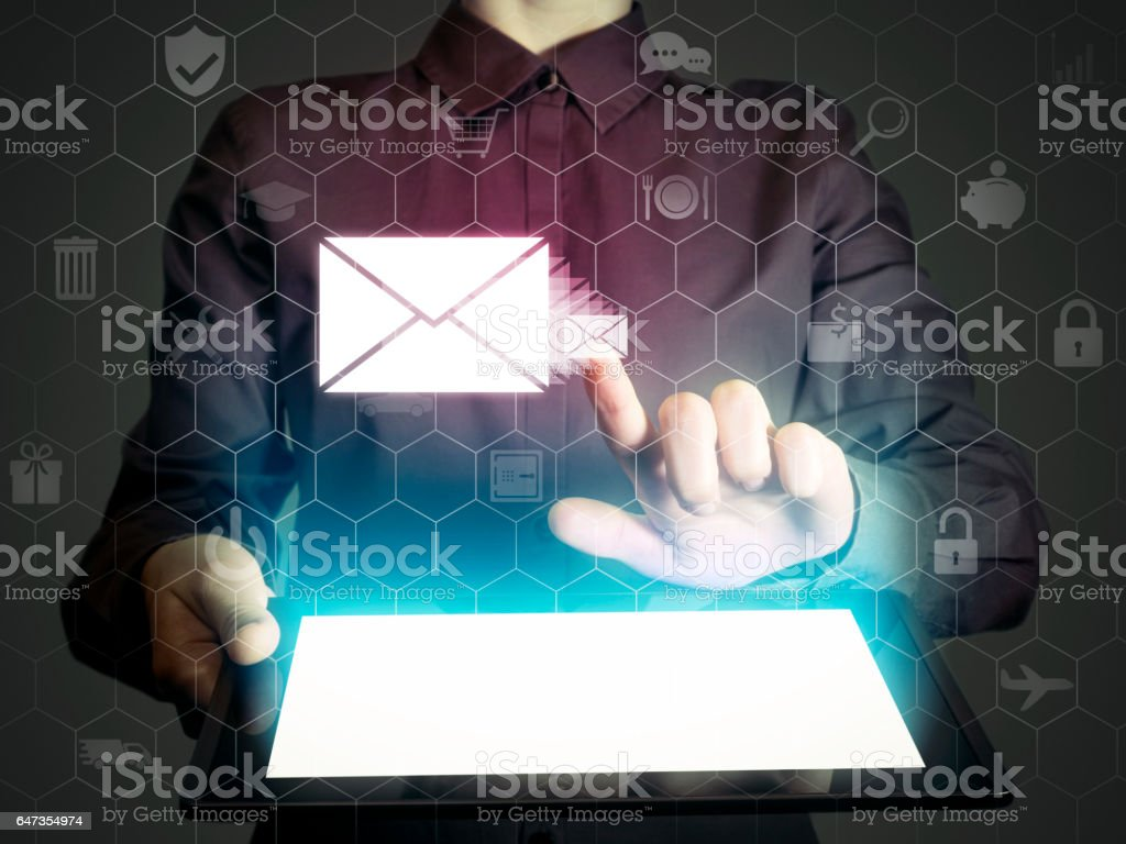 Online mail, correspondence, feedback, reporting. stock photo