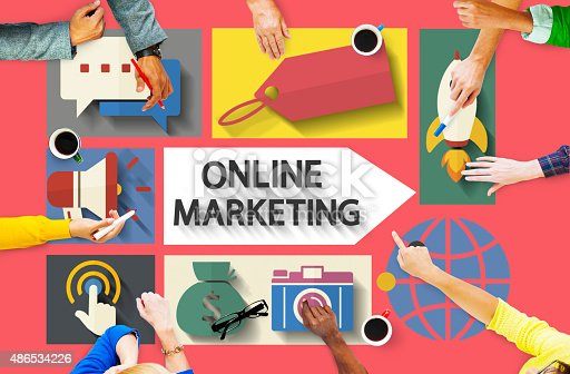 862201618 istock photo Online Marketing Branding Global Communication Analysing Concept 486534226
