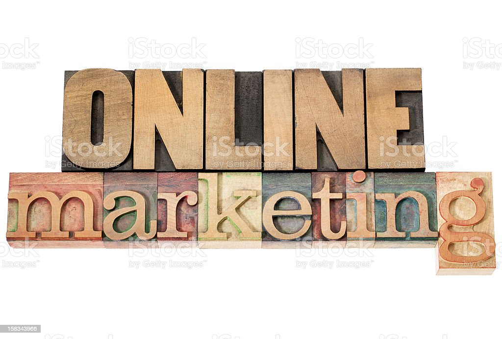 online marketing - text in wood type royalty-free stock photo