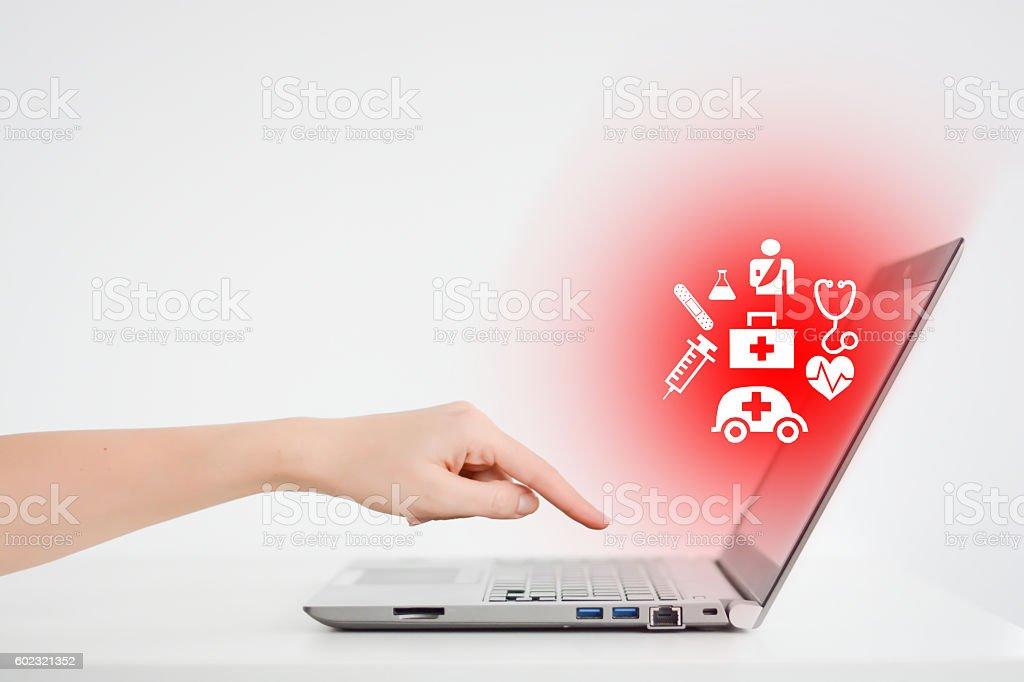 Online medical services concept using an internet platform stock photo
