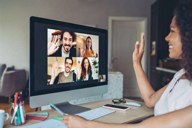 On-line meeting stock photo