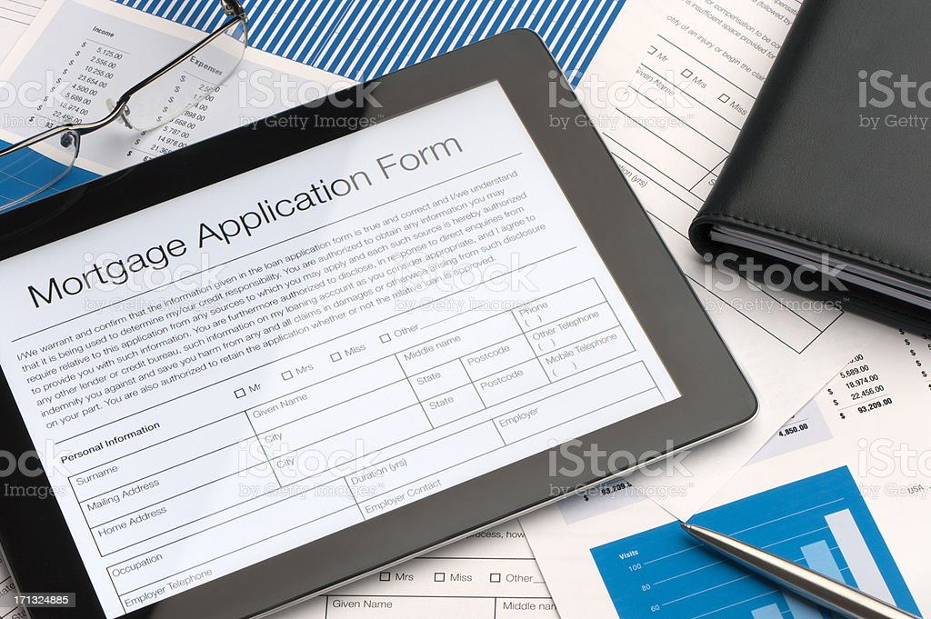 Online mortgage application form stock photo