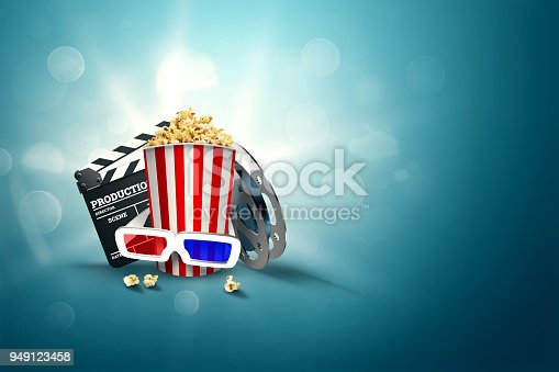 istock Online movies, cinemas, an image of popcorn, 3d glasses, a movie film and a blackboard on a blue background. The concept of a cinema on the Internet, a mobile cinema, realistic illustration, 3d. 949123458