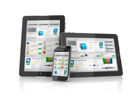 Software app or applications market or store with different platforms and layouts from mobile to tablets pcs and different orientation modes..