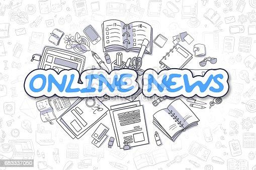1132886484 istock photo Online News - Cartoon Blue Word. Business Concept 683337050