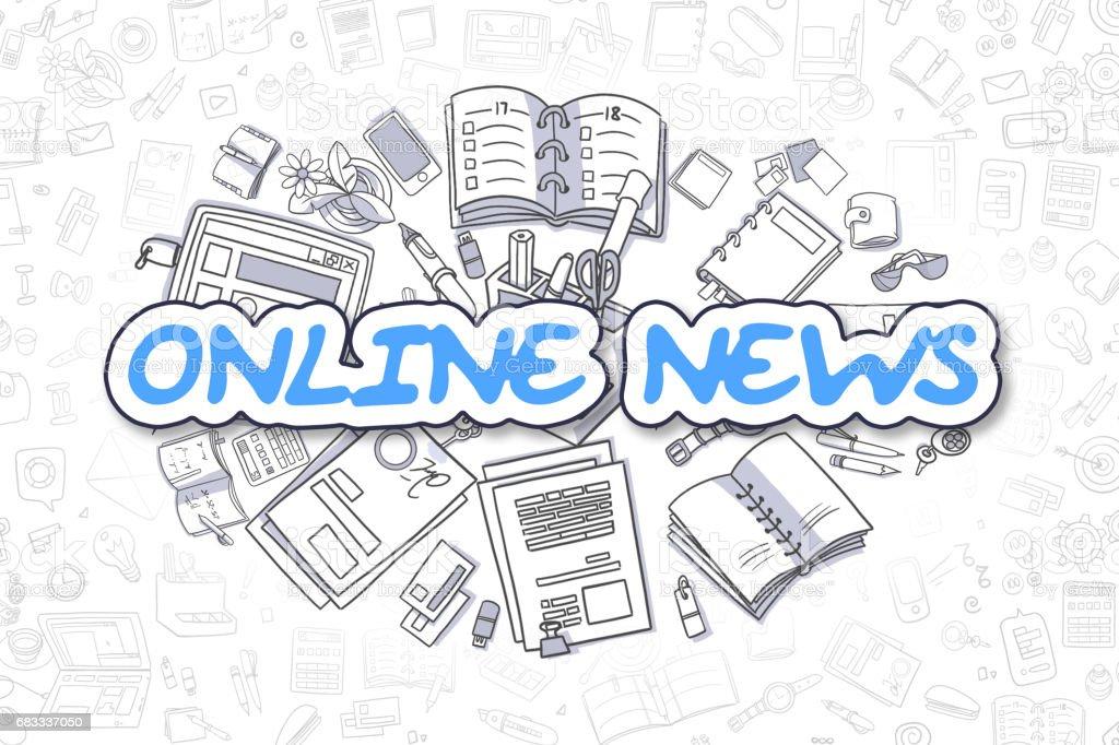 Online News - Cartoon Blue Word. Business Concept stock photo