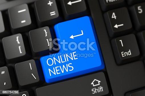 1132886484 istock photo Online News CloseUp of Blue Keyboard Button. 3D 680754266