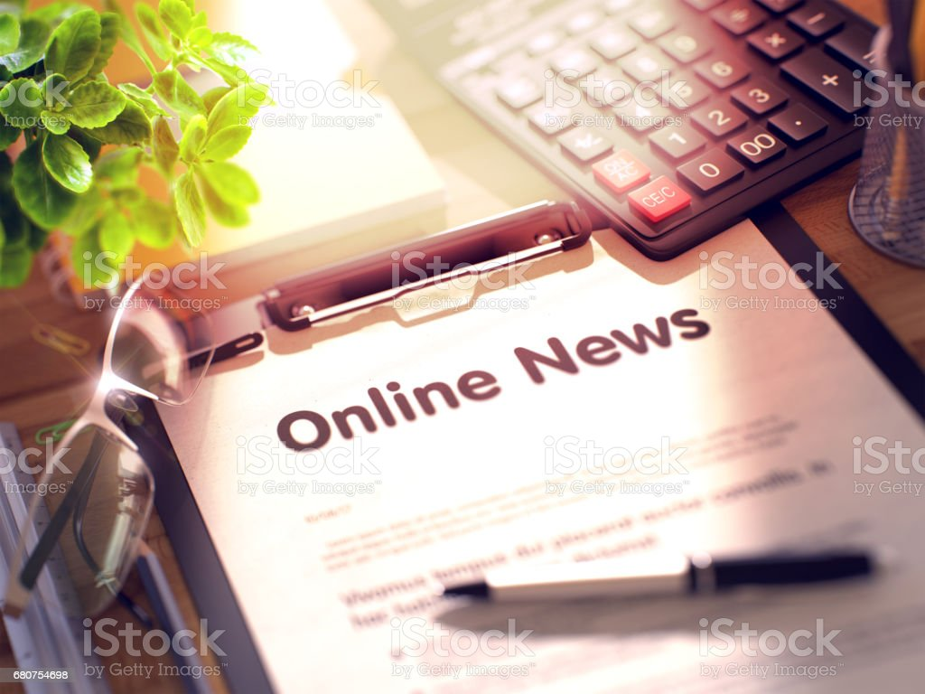 Online News Concept on Clipboard. 3D stock photo