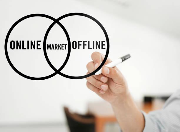 online oder offline markt - männer zitate stock-fotos und bilder