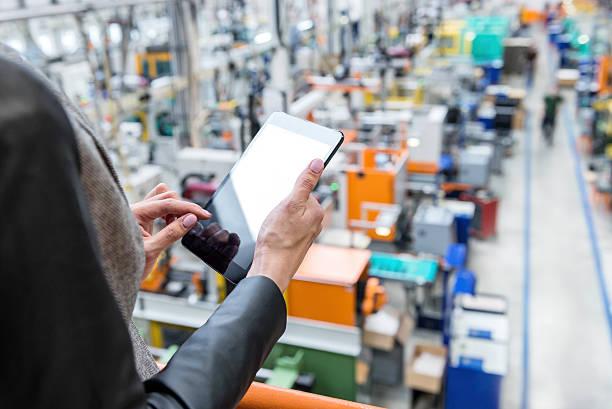 on-line orders in futuristic factory - delivery robot bildbanksfoton och bilder