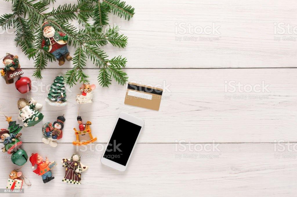 online paying for christmas decorations background royalty free stock photo
