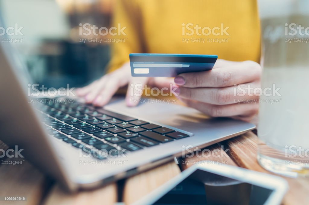 Online payment and shopping concepts stock photo