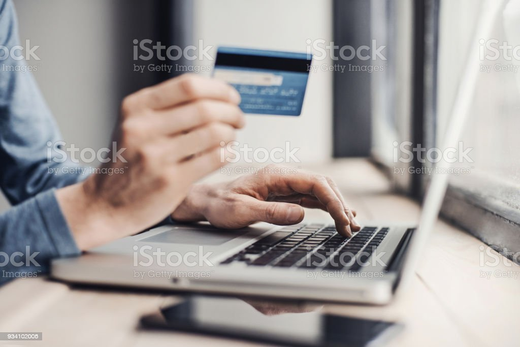Online payment, shopping or internet banking concept stock photo