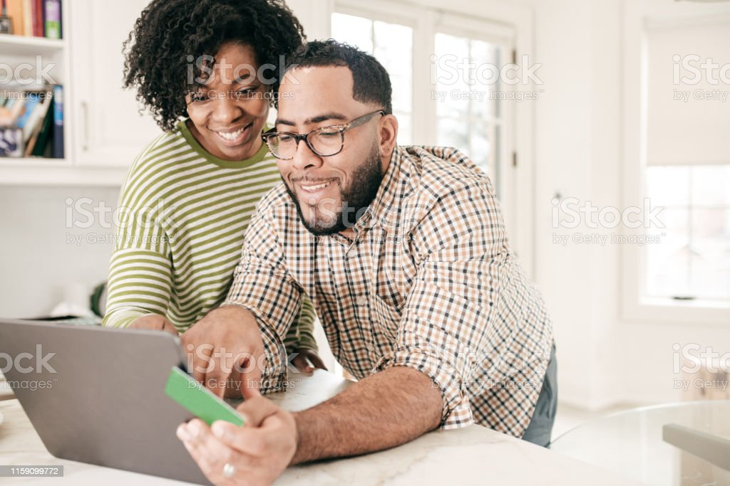 Couple paying online