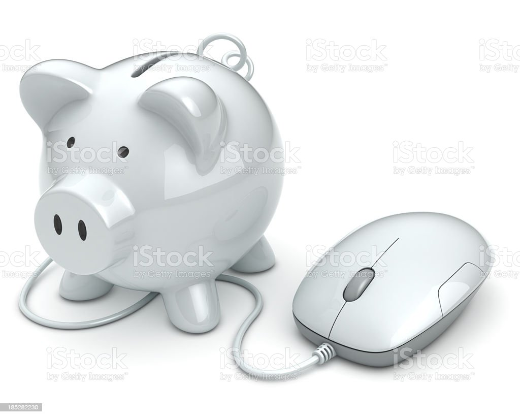 Online piggy bank and mouse banking concept royalty-free stock photo