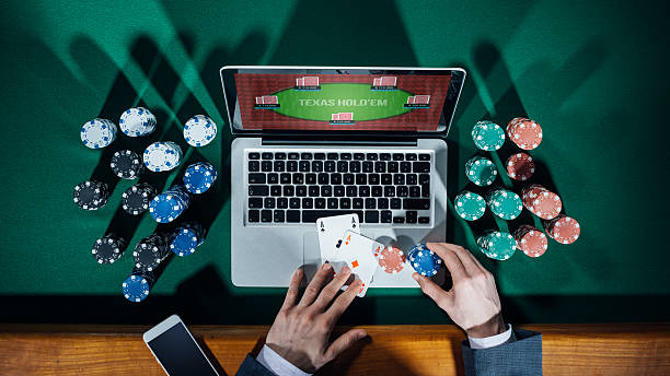 Online poker player stock photo