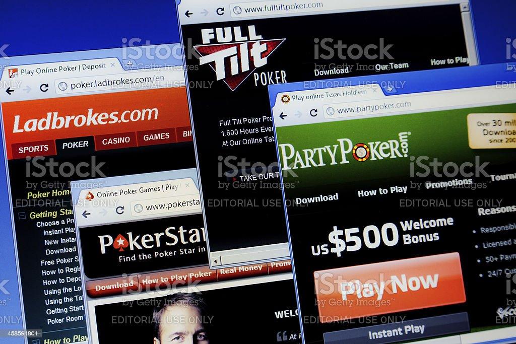 Online poker sites on computer screen.