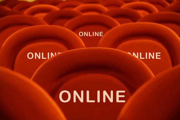 Online remote participation to events and meetings stock photo