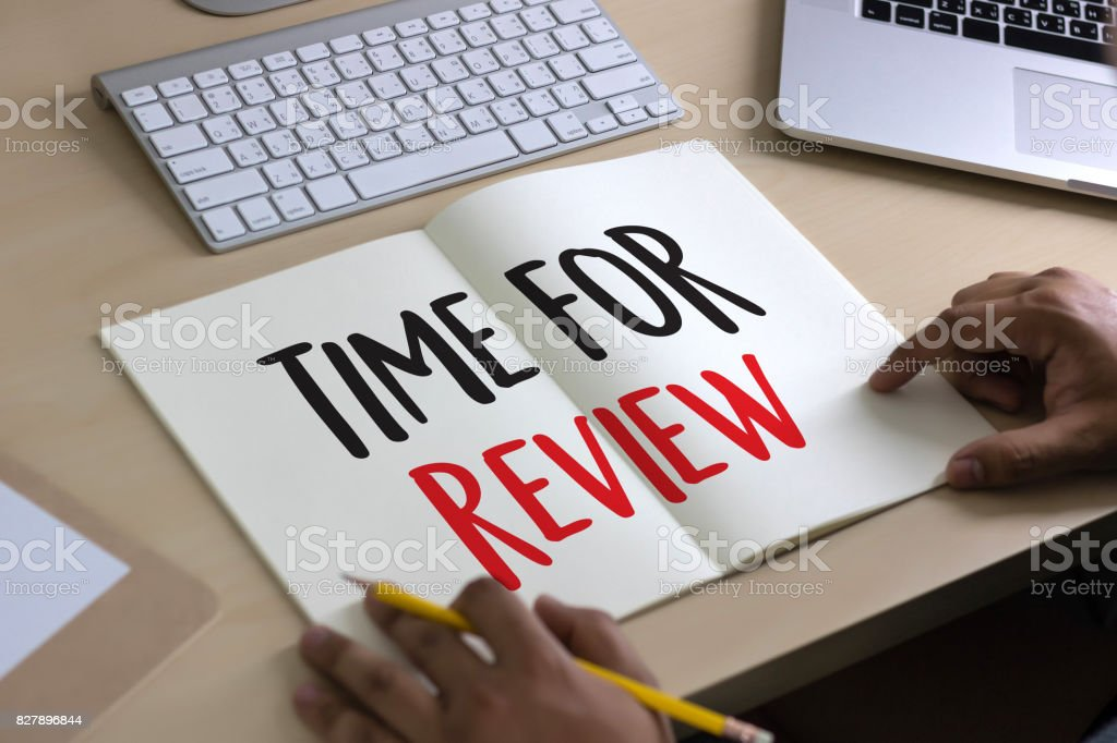 Online Reviews Evaluation time for review  Inspection Assessment Auditing stock photo