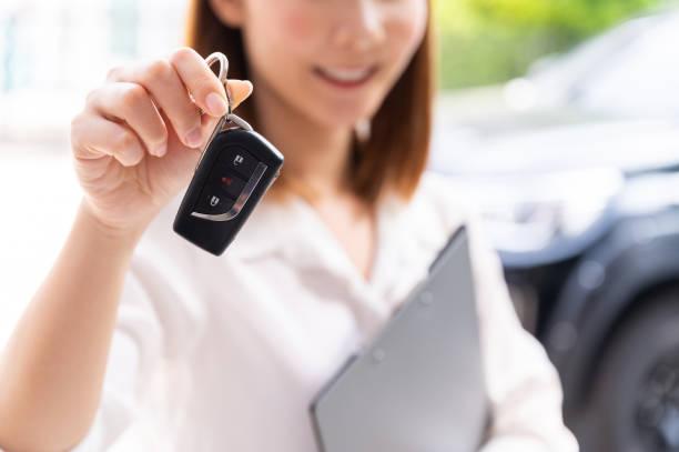 Online sales car, rental car deliver at home stock photo