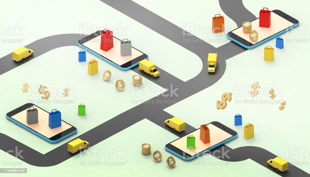 Online sales Market delivery car for Mobile Application Concept...