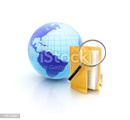 istock Online Search with glossy files and documets folder icon 175720027