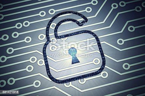 istock Online security concept padlock 531421918