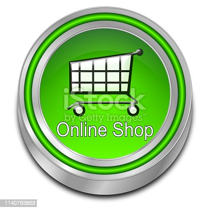 modern green online shop button - 3D illustration