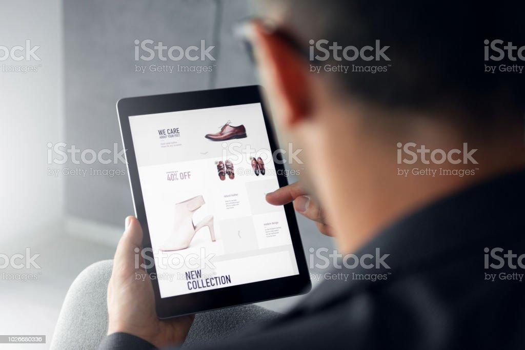 Online shop - Digital tablet stock photo