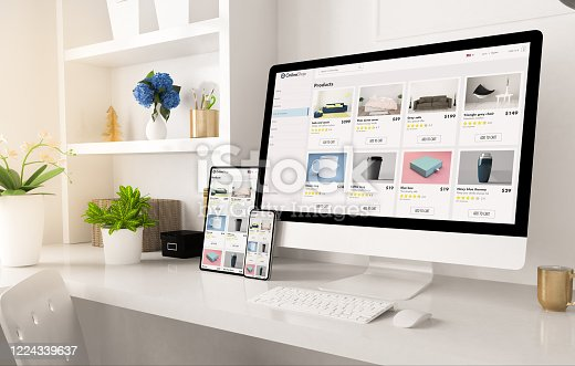 online shop website on home office setup 3d rendering