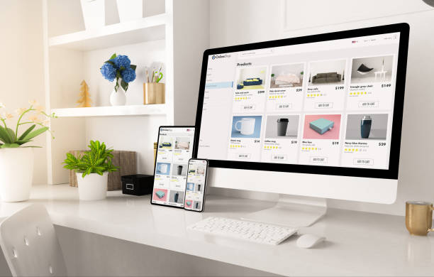 online shop website on home office setup online shop website on home office setup 3d rendering e commerce stock pictures, royalty-free photos & images