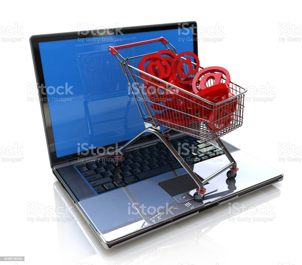 online shopping 3d concept in the design of information related to trade on the Internet. 3d illustration stock photo