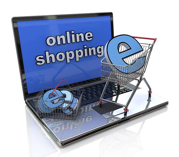 online-shopping - 3d-konzept - klavier verkaufen stock-fotos und bilder