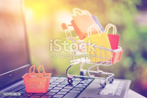 868776578istockphoto Online shopping and e commerce with delivery service concept : Orange household plastic shopping basket on a laptop or notebook computer with small metal shopping cart and paper shopping bags behind. 1024926678