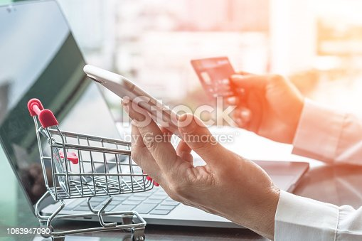 846708102 istock photo Online shopping and e-commerce digital marketing concept via credit card and internet banking on mobile smartphone app and wireless communication technology in people or shopper modern city lifestyle 1063947090