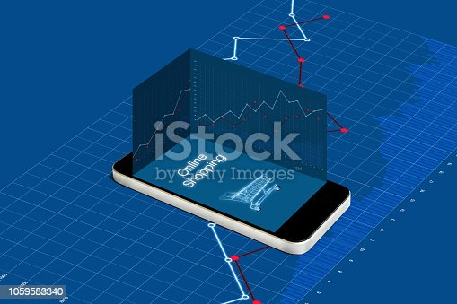 istock Online shopping and investment in online retail shop business. Mobile smart phone with raising graph 1059583340