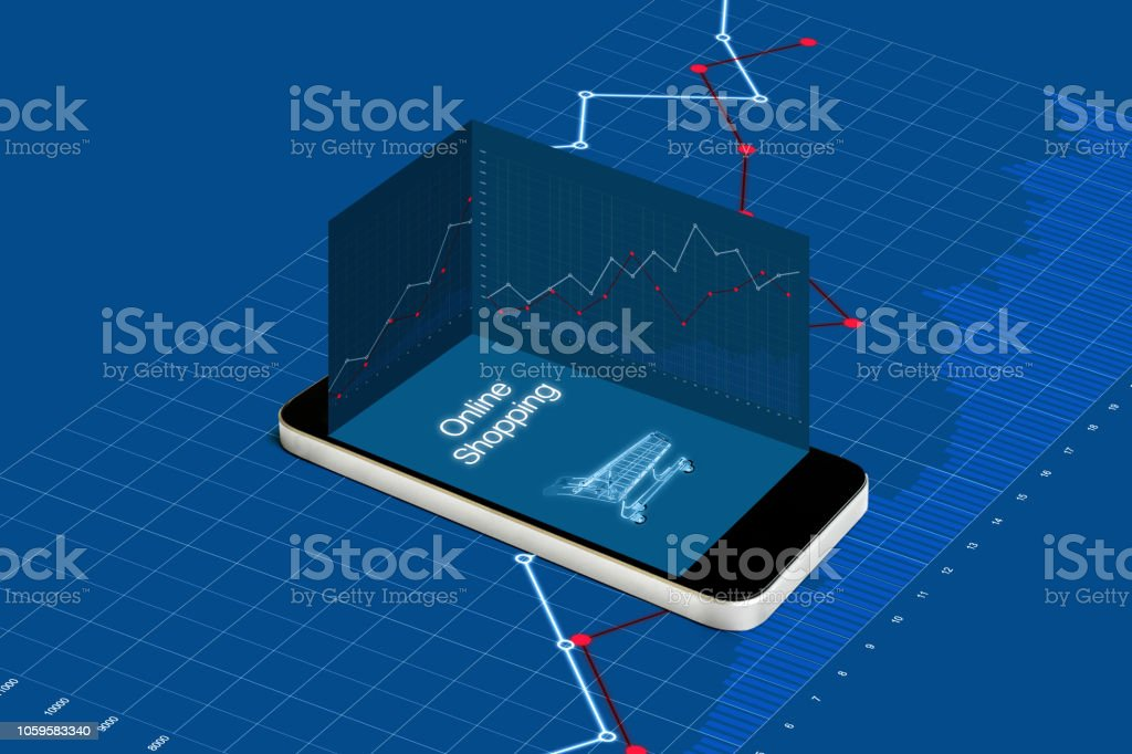 Online shopping and investment in online retail shop business. Mobile smart phone with raising graph stock photo