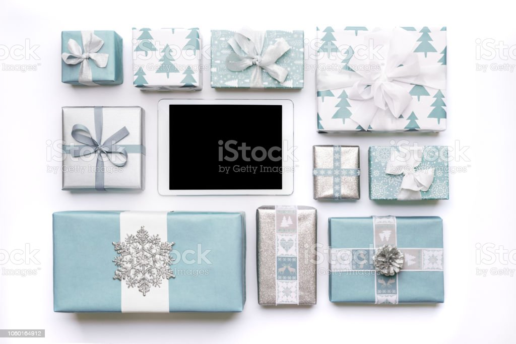 Online Shopping, Christmas Sale Concept. Boxing Day Sale Background. stock photo