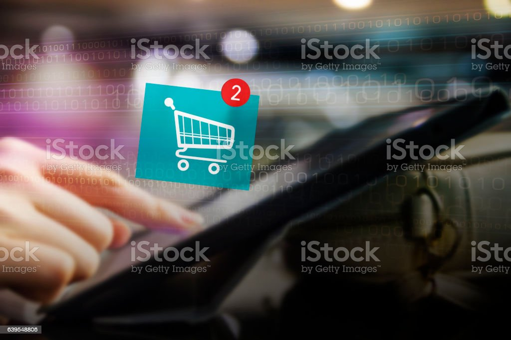 Online shopping concept of young woman hand add to cart stock photo