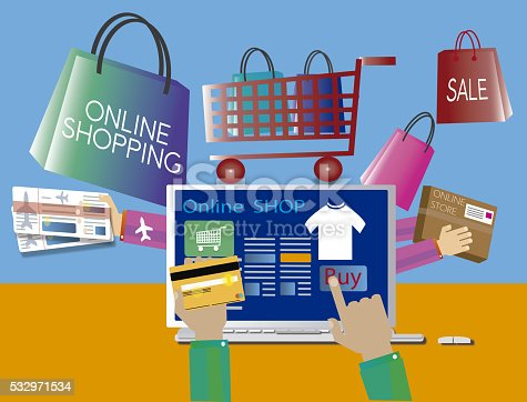 online store on the screen, items purchased out of the computer, mostrandose also on the screen, concept of online shopping,. JPG illustration