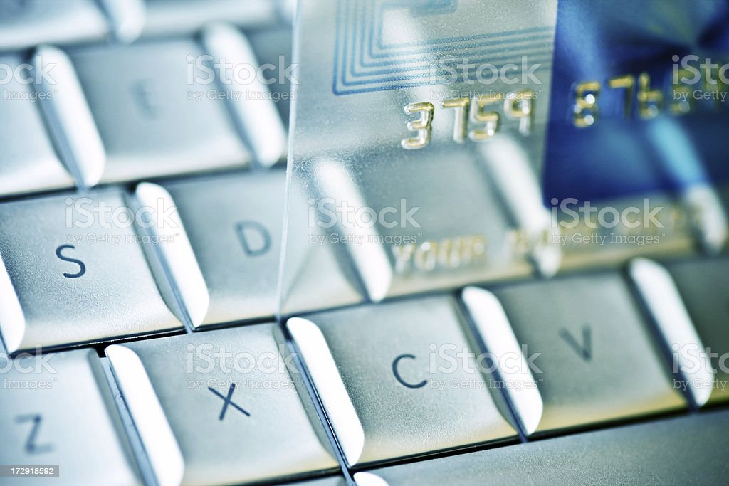 online shopping credit card on keyboard royalty-free stock photo