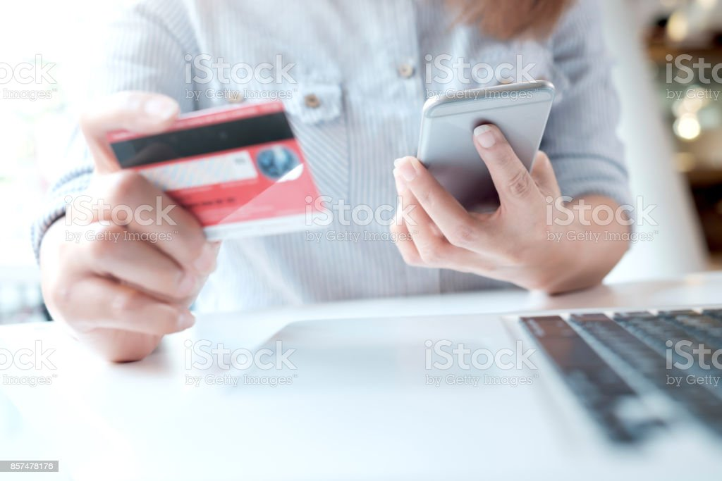 Online shopping. Customer shopping online pay by credit card.