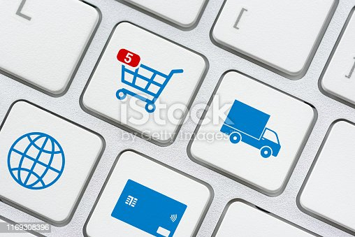 istock Online shopping / ecommerce and retail sale concept : Shopping cart, delivery van, credit card, world globe logo on a laptop keyboard, depicts customers order things from retailer sites using internet 1169308396