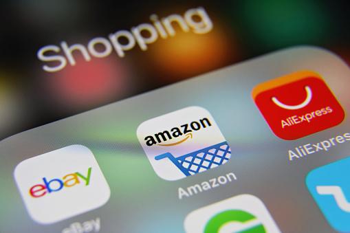 Online shopping e-commerce mobile app icons